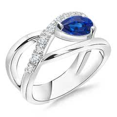 Criss Cross Pear Shaped Sapphire Ring with Diamond Accents