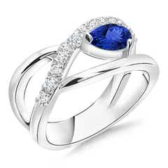 Criss Cross Pear Shaped Tanzanite Ring with Diamond Accents