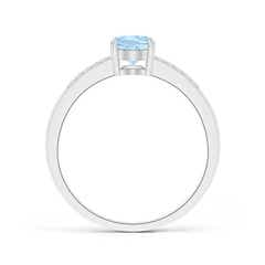 Prong-Set Oval Solitaire Aquamarine Ring With Diamond Accent