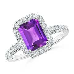 Vintage Inspired Emerald-Cut Amethyst Halo Ring