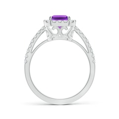 Toggle Vintage Inspired Emerald-Cut Amethyst Halo Ring