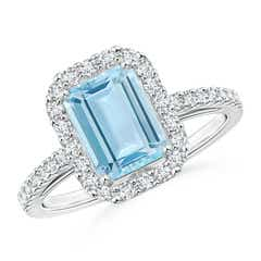 Vintage Inspired Emerald Cut Aquamarine Halo Ring