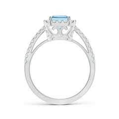 Toggle Vintage Inspired Emerald-Cut Aquamarine Halo Ring