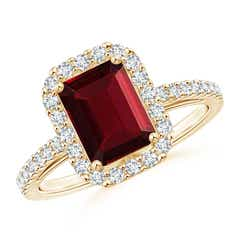 Vintage Inspired Emerald-Cut Garnet Halo Ring