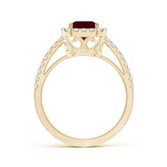 Toggle Vintage Inspired Emerald-Cut Garnet Halo Ring