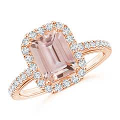 Vintage Inspired Emerald-Cut Morganite Halo Ring