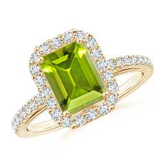 Vintage Inspired Emerald-Cut Peridot Halo Ring