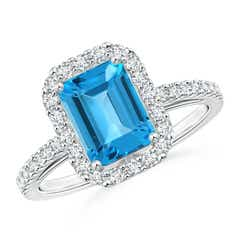 Vintage Inspired Emerald-Cut Swiss Blue Topaz Halo Ring