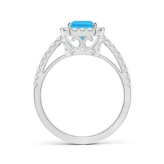 Toggle Vintage Inspired Emerald-Cut Swiss Blue Topaz Halo Ring