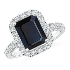 Vintage Inspired GIA Certified Emerald-Cut Sapphire Halo Ring
