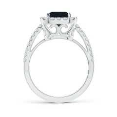 Toggle Vintage Inspired GIA Certified Emerald-Cut Sapphire Halo Ring