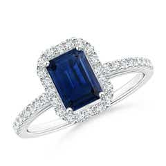 Vintage Inspired Emerald Cut Sapphire Halo Ring