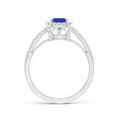 Toggle Vintage Inspired Emerald-Cut Tanzanite Halo Ring