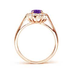 Toggle Princess Diana Inspired Amethyst Ring with Diamond Halo