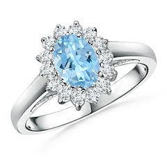 Princess Diana Inspired Aquamarine Ring with Diamond Halo