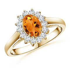 Princess Diana Inspired Citrine Ring with Diamond Halo