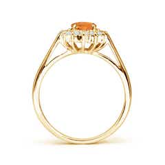 Toggle Princess Diana Inspired Citrine Ring with Diamond Halo