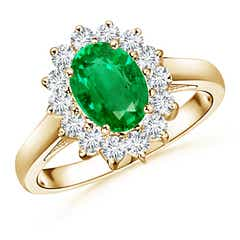 Princess Diana Inspired Emerald Ring with Diamond Halo
