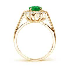 Toggle Princess Diana Inspired Emerald Ring with Diamond Halo