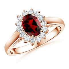 Princess Diana Inspired Garnet Ring with Diamond Halo