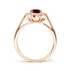 Toggle Princess Diana Inspired Garnet Ring with Diamond Halo