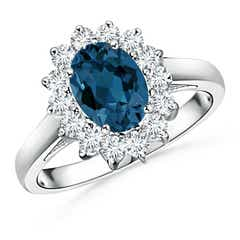 Princess Diana Inspired London Blue Topaz Floral Halo Ring