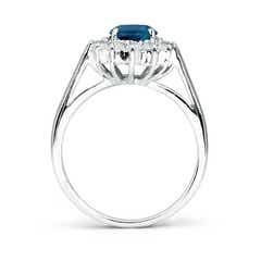 Toggle Princess Diana Inspired London Blue Topaz Ring with Halo