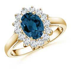 Princess Diana Inspired London Blue Topaz Ring with Halo