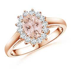 Princess Diana Inspired Morganite Ring with Diamond Halo
