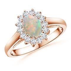 Princess Diana Inspired Opal Ring with Diamond Halo