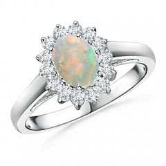 Princess Diana Inspired Opal Ring with Diamond Halo