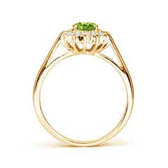 Toggle Princess Diana Inspired Peridot Ring with Diamond Halo