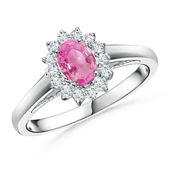 Princess Diana Inspired Pink Sapphire Ring with Diamond Halo