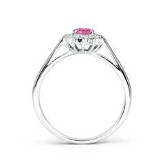 Toggle Princess Diana Inspired Pink Sapphire Ring with Diamond Halo