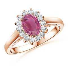 Princess Diana Inspired Pink Tourmaline Ring with Halo
