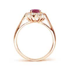Toggle Princess Diana Inspired Pink Tourmaline Ring with Halo