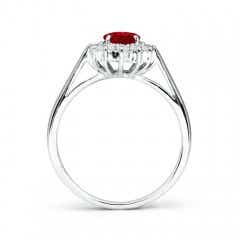 Toggle Princess Diana Inspired Ruby Ring with Diamond Halo