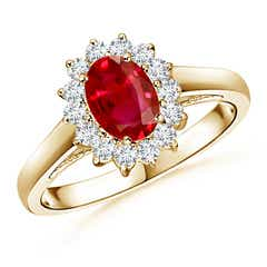 Princess Diana Inspired Ruby Ring with Diamond Halo