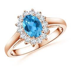 Princess Diana Inspired Swiss Blue Topaz Ring with Diamond Halo