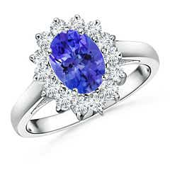Princess Diana Inspired Tanzanite Ring with Diamond Halo
