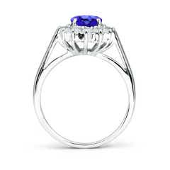 Toggle Princess Diana Inspired Tanzanite Ring with Diamond Halo