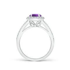 Toggle Round Amethyst Split Shank Ring with Diamond Halo