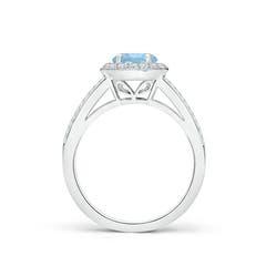 Toggle Round Aquamarine Split Shank Ring with Diamond Halo