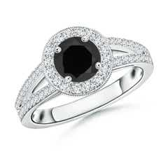 Round Black Onyx Split Shank Ring with Diamond Halo