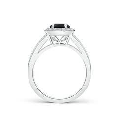 Toggle Round Black Onyx Split Shank Ring with Diamond Halo