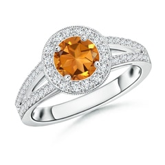 Round Citrine Split Shank Ring with Diamond Halo