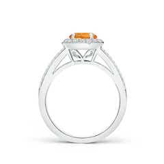 Toggle Round Citrine Split Shank Ring with Diamond Halo