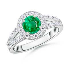 Round Emerald Split Shank Ring with Diamond Halo