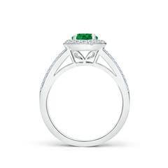 Toggle Round Emerald Split Shank Ring with Diamond Halo