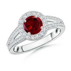 Round Garnet Split Shank Ring with Diamond Halo